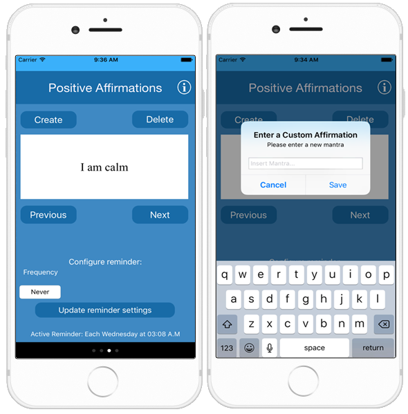 The Positive Affirmations feature screen